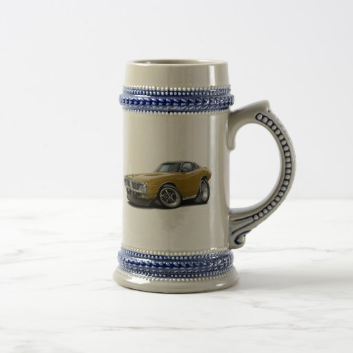 1973-74 Charger Gold-Black Opera Top Car 18 Oz Beer Stein