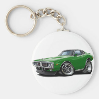 1973-74 Charger Green-Black SE Car Basic Round Button Keychain