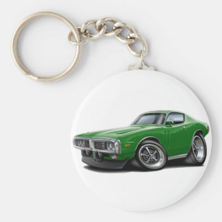 1973-74 Charger Green Car Basic Round Button Keychain