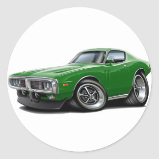 1973-74 Charger Green Car Classic Round Sticker