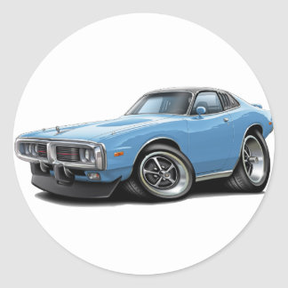 1973-74 Charger Lt Blue-Black Opera Top Car Classic Round Sticker