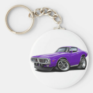 1973-74 Charger Purple Car Basic Round Button Keychain