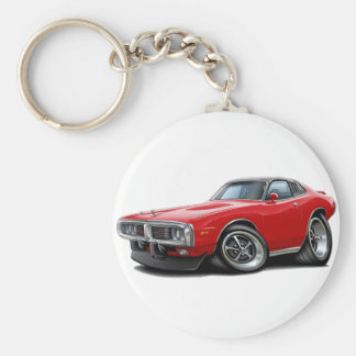 1973-74 Charger Red-Black SE Car Basic Round Button Keychain