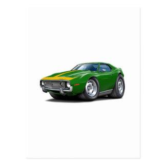 1973-74 Javelin Green-Gold Car Postcard