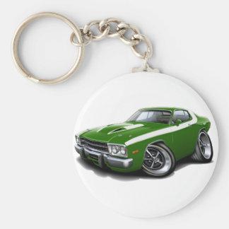 1973-74 Roadrunner Green-White Car Keychain