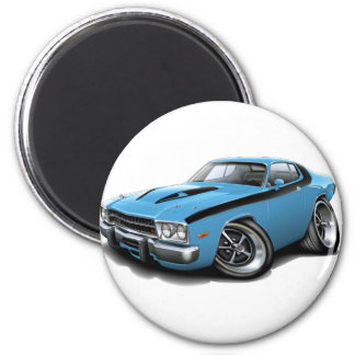 1973-74 Roadrunner Lt Blue-Black Car 2 Inch Round Magnet