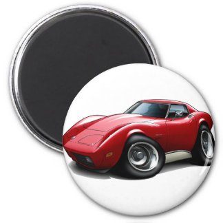 1973-76 Corvette Red Car 2 Inch Round Magnet