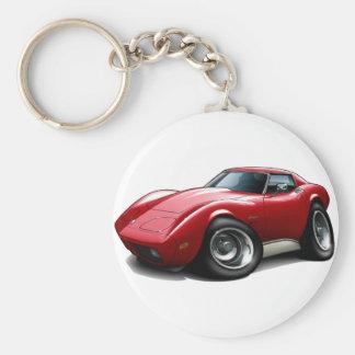 1973-76 Corvette Red Car Basic Round Button Keychain