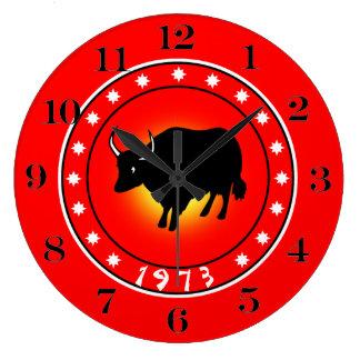 1973 años del buey relojes de pared