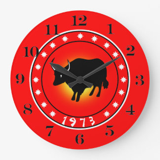 1973 años del buey reloj redondo grande