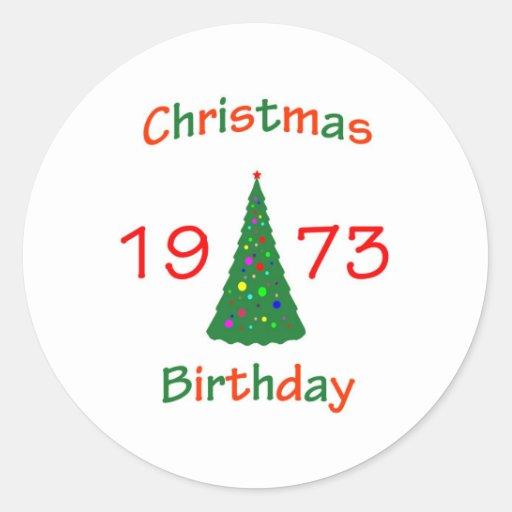 1973 Christmas Birthday Round Sticker