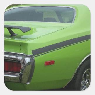 1973 cuartos verdes de la parte posterior de la pegatinas cuadradases personalizadas