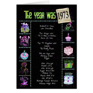 1973 curiosidades del año del cumpleaños tarjeta de felicitación