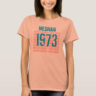 1973 or Any Year 40th Birthday Gift Peach V015 T-Shirt
