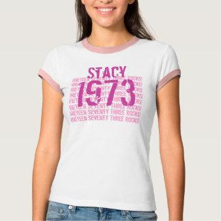 1973 Vintage Year 40th Birthday Pink White V3 T-Shirt