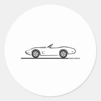1974 - 1977 Corvette Convertible Classic Round Sticker