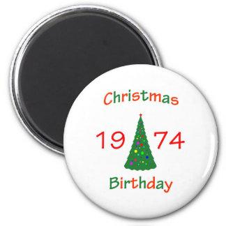 1974 Christmas Birthday 2 Inch Round Magnet