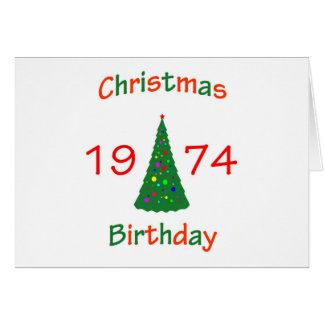 1974 Christmas Birthday Card