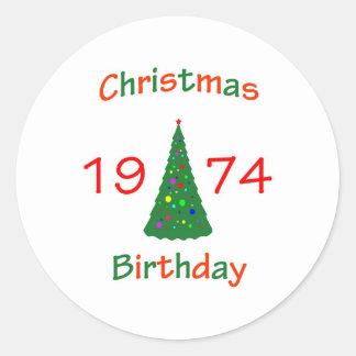 1974 Christmas Birthday Classic Round Sticker