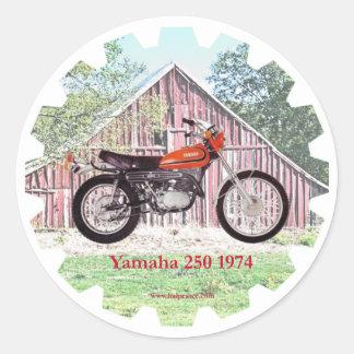 1974 Classic Motorcycle Yamaha 250 Classic Round Sticker