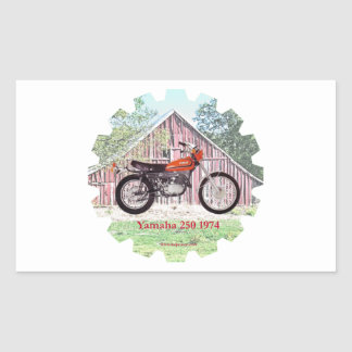 1974 Classic Motorcycle Yamaha 250 Rectangular Sticker