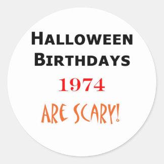 1974 halloween birthday classic round sticker