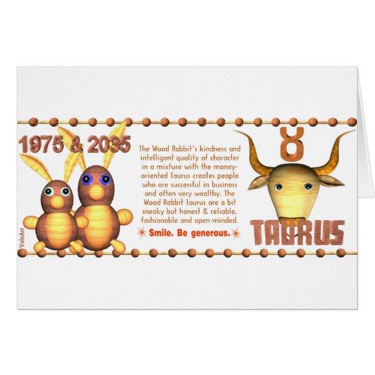 1975 2035 Zodiac Wood Rabbit born Taurus Card