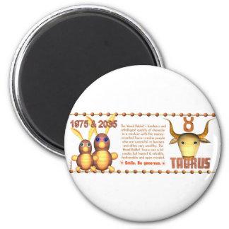 1975 2035 Zodiac Wood Rabbit born Taurus Refrigerator Magnet