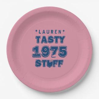 1975 40th Birthday TASTY STUFF Grunge Pink J40Z Paper Plate