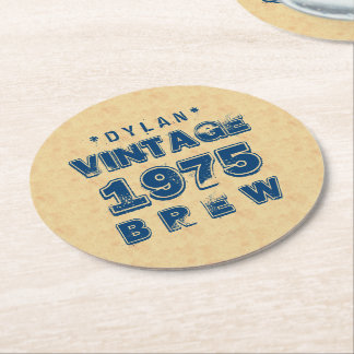 1975 40th or Any Birthday VINTAGE BREW Gold J30BZ Round Paper Coaster