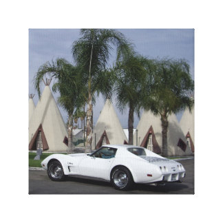 1975 Corvette & Route 66 Teepees Wrapped Canvas