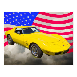 1975 Corvette Stingray With American Flag Postcard