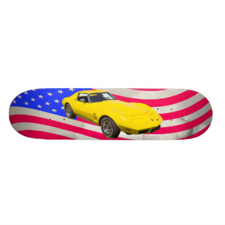 1975 Corvette Stingray With American Flag Skateboard Deck