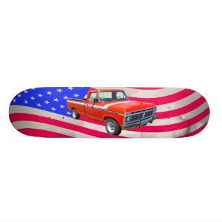 1975 Ford F100 Explorer Pickup And US Flag Custom Skate Board