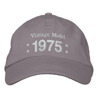 1975 or Any Year 40th Birthday A4P GRAY and WHITE Embroidered Baseball Caps