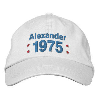 1975 or Any Year 40th Birthday A8P WHITE and BLUE Embroidered Baseball Caps