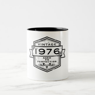 1976 Aged To Perfection Funny Birthday Gift Two-Tone Coffee Mug