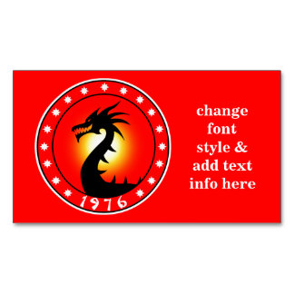 1976 Year of the Dragon Business Card Magnet