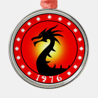 1976 Year of the Dragon Round Metal Christmas Ornament