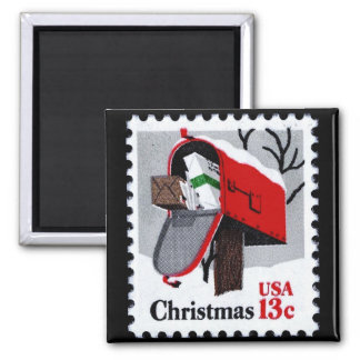 1977 CHRISTMAS STAMP (mailbox) ~ 2 Inch Square Magnet