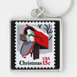 1977 CHRISTMAS STAMP (mailbox) ~ Silver-Colored Square Keychain
