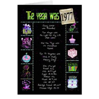1977 curiosidades del año del cumpleaños tarjeta de felicitación