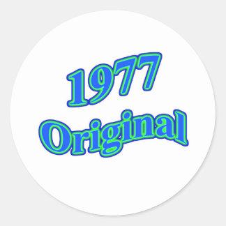 1977 Original Blue Green Round Stickers