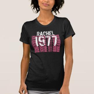 1977 Vintage Birthday Black Pink White Custom Name T-Shirt