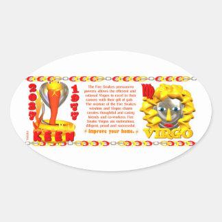 1977 zodiac Fire Snake born Virgo Oval Sticker