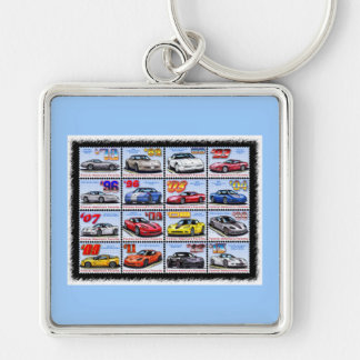 1978-2013 Special Edition Corvette Montage Silver-Colored Square Keychain