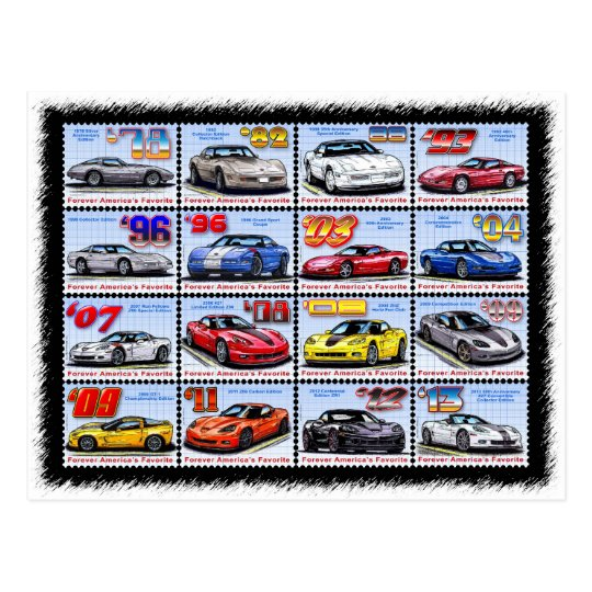 1978-2013 Special Edition Corvette Montage Postcard
