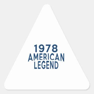 1978 diseños del cumpleaños de la leyenda del pegatina triangular