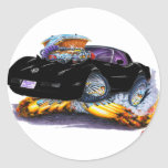 1980-82 Corvette Black Car Classic Round Sticker