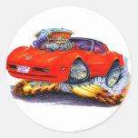 1980-82 Corvette Red Car Classic Round Sticker